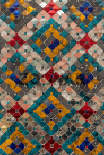 Detail of shiny Wat Phra Kaew mosaic