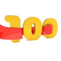 Golden 100 with a red ribbon