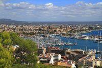 Aerial view of Palma de Mallorca in Majorca, Balearic Islands, Spain