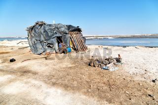 in  ethiopia africa  the hut in the saline