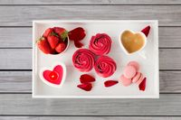 close up of treats on tray for valentines day