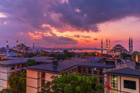 Beautiful sunset over the Hagia Sophia and the Blue Mosque, Istanbul panorama