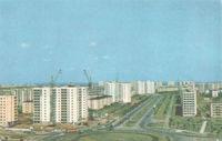 Anapa, Russia - September 02, 2019: Scanned Soviet photo card Minsk, Pushkin Avenue
