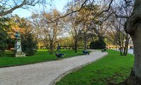 Paris, France, March 27 2017: Historic Luxembourg Gardens (Jardin du Luxembourg)- public garden in the 6th arrondissement of Paris, France. Popular tourists and locals attraction in Paris
