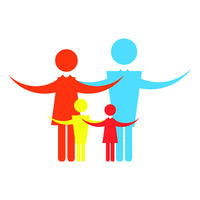 Colored Happy Family Icon Isolated on White Background. Mother and Father with Babies Logo. Parents and Children.