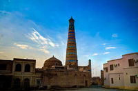 Exterior view to Islam Khoja Minor minaret at Itchan Kala in Khiva, Uzbekistan
