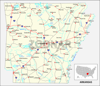 road map of the US American State of Arkansas