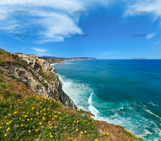 Summer ocean coastline view in Getxo town, Spain