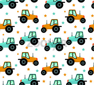 Tractor seamless pattern. Baby cars for boys repeating texture, endless background. Vector illustration