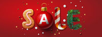 Christmas Sale banner, Xmas festive decoration. Horizontal christmas posters, cards, headers, website, vector illustration.