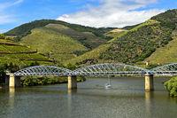 Iron road bridge over the Douro River, Pinhao, Douro Valley, Portugal