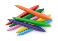 Top view of colorful plastic crayons