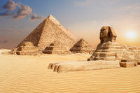 The Pyramids and the Sphinx of Giza, famous world landmark scenery