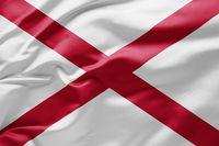 Waving state flag of Alabama - United States of America