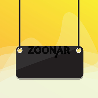 Hanging empty rectangle shaped sign on colorful background. Board attached at two ends on surface by strings. Panel with blank space for textual message.