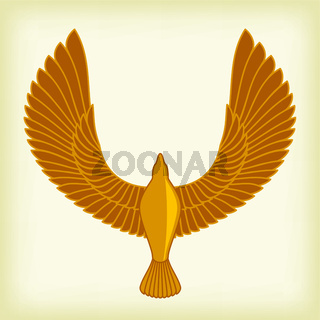 Golden bird in ancient Egipt style. Simple and plain.