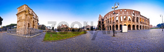 Colosseum and Arch of Constantine square panoramic dawn view in Rome