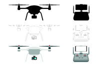 Drone - vector silhouette illustration isolated on white background