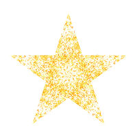 Gold Star Isolated on White Background. Yellow Starry Pattern