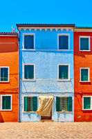 Red and blue houses in Burano