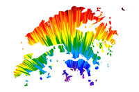 Hong Kong - map is designed rainbow abstract colorful pattern, Special Administrative Region of the Peoples Republic of China (HK) map made of color explosion,