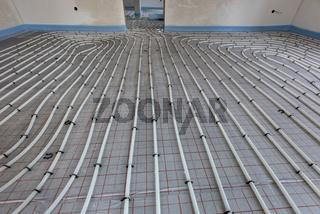 Fußbodenheizung in einem Neubau