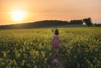 Woman wandering on a footpath in a rapeseed field