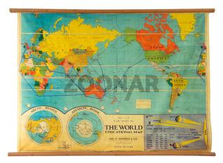 Vintage education color world map