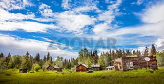 Williams Lake British Columbia Canada on June 13, 2018 Abandoned farm on Dugan Lake