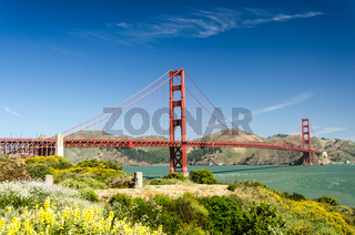 Golden Gate bridge in San Francisco with beautiful park in the foreground