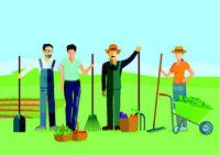 Gardeners work in the garden