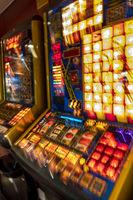 Gambling machines blinking in the casino