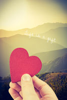 Hand holding a heart shaped object on landscape sunset