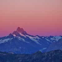 Mount Schreckhorn at sunrise. View from Mount Niederhorn. Mountain in the Bernese Oberland, Switzerl