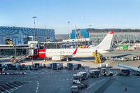 Loading airplane Copenhagen airport luggage
