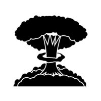Nuclear Burst. Cartoon Bomb Explosion. Radioactive Atomic Power. Symbol of War. Big Mushroom Cloud.