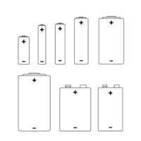 Large set of different alkaline batteries icons on white
