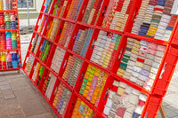 Gift ribbons and borders for sale at a market stall in Germany
