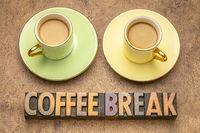 coffee break word abstract in wood type