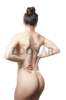 rear view of unrecognizable nude young woman