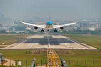 KLM Boeing 787 commercial airplane landing in Chengdu