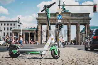 Electric E scooter , escooter or e-scooter at Brandenburger Tor in Berlin, Germany