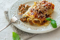 Cannelloni with minced meat, cream sauce, parmesan and fresh basil.