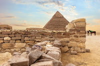 Temple ruins and the Pyramid of Khafre, Giza, Egypt