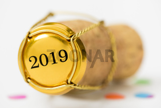 Champagnerkorken im Detail auf Neujahrsparty 2019