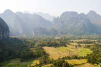 Scenic mountains surrounding Vang Vieng