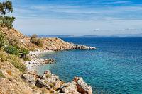 The beach Mersinidi in Chios, Greece