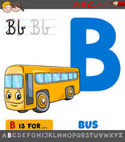 letter B worksheet with cartoon bus