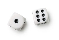 Top view of two white dices