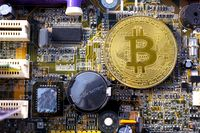 Bitcoin coins and printed circuit board PCB